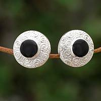 Obsidian button earrings, 'Life' - Obsidian button earrings