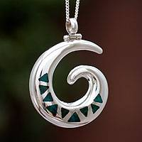 Chrysocolla pendant necklace, 'Seasons of Change' - Chrysocolla pendant necklace