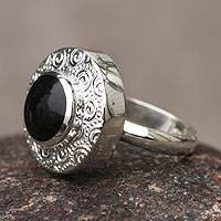 Obsidian cocktail ring, 'Life' - Obsidian and Sterling Silver Handmade Ring