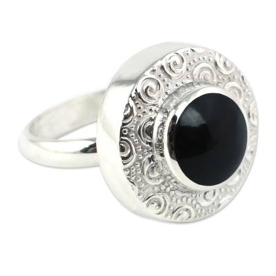 Obsidian and Sterling Silver Handmade Ring