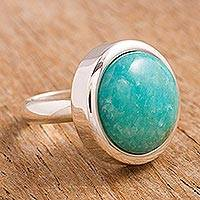 Amazonite cocktail ring, 'Unique Minimalism'