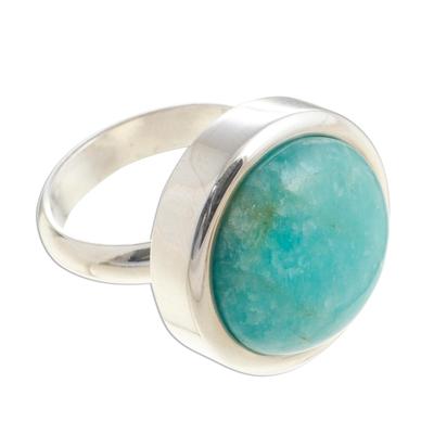 Amazonite cocktail ring, 'Unique Minimalism' - Amazonite cocktail ring