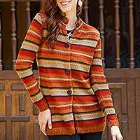 100% alpaca long cardigan, 'Orcopampa Sunset' - 100% Alpaca Long Cardigan in Orange and Brown