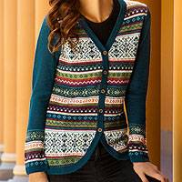 100% alpaca cardigan, 'Winter Fiesta'