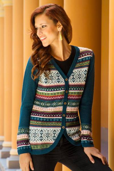 100% alpaca cardigan, 'Winter Fiesta' - Peru Teal and Plum Jacquard Knit 100% Alpaca Cardigan
