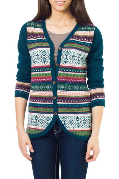 100% alpaca cardigan, 'Winter Fiesta' - Peru Teal and Plum Jacquard Knit 100% Alpaca Cardigan