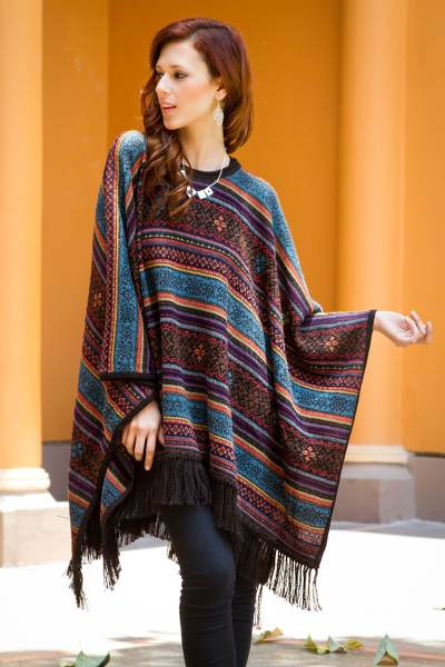 Unicef Market Multi Color Womens Alpaca Poncho With