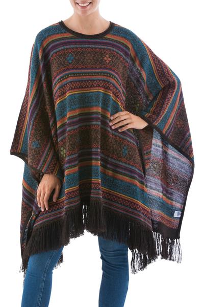 Andean Multicolor Alpaca Wool Poncho