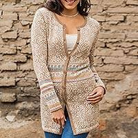 100% alpaca cardigan, 'Earth Garden' - Brown Floral Jacquard 100% Long Alpaca Cardigan Sweater
