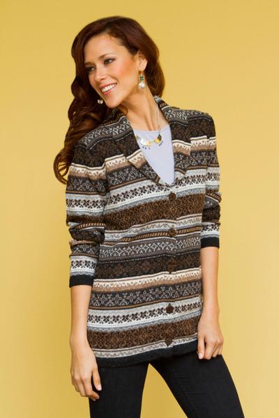 100% alpaca cardigan, 'Sepia Forest' - Peru Brown Jacquard Knit 100% Alpaca Cardigan Sweater