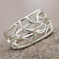 Sterling silver band ring, 'Flame'