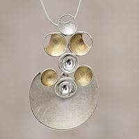 Gold accent pendant necklace, 'Sun and Moon'