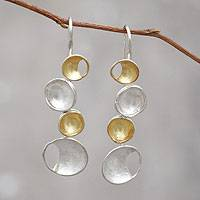 Gold accent drop earrings, 'Sun and Moon'
