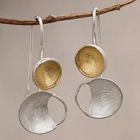 Gold accent dangle earrings, 'Sunlight and Moonbeams'