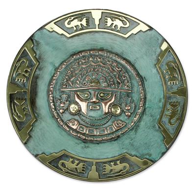 Copper plate, 'Ceremonial Blade Deity' - Copper plate