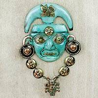 Copper and bronze mask, 'Chavin Nobleman' - Handcrafted Inca Mask in Bronze and Copper