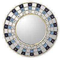Reverse painted glass mirror, 'Blue Blossom Halo' - Reverse painted glass mirror
