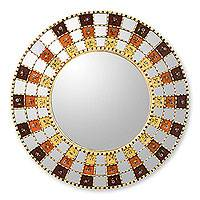 Reverse painted glass mirror, 'Blossom Halo' - Reverse painted glass mirror