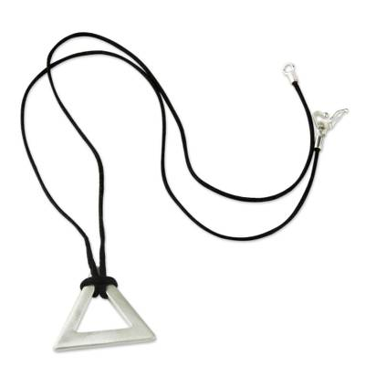 Men's sterling silver necklace, 'Perfect Triangle' - Men's sterling silver necklace