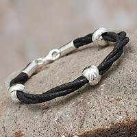 Sterling silver braided bracelet, 'Passages'