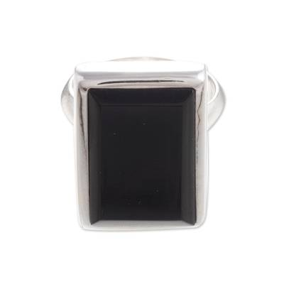 Handcrafted Obsidian and Sterling Silver Rectangular Single Stone Ring