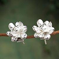 Sterling silver button earrings, 'Andean Chrysanthemums' - Sterling Silver Chrysanthemum Button Earrings