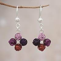Steel and sterling silver dangle earrings, 'Colorful Yarn' - Steel and sterling silver dangle earrings