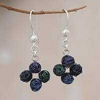 Steel and sterling silver dangle earrings, 'Balls of Yarn' - Steel and sterling silver dangle earrings