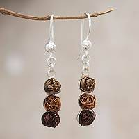Steel dangle earrings, 'Earth Colors' - Handcrafted Stainless Steel and Sterling Silver Earrings