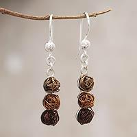 Steel dangle earrings, 'Earth Colors' - Steel dangle earrings