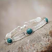 Chrysocolla link bracelet, 'Inca Heritage' - Chrysocolla link bracelet