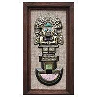 Gemstone inlay bronze wall art, 'Tumi Deity' - Unique Bronze Wall Sculpture with Gemstone Inlay