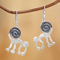 Sterling silver dangle earrings, 'Nazca Monkey Tricks' - Sterling silver dangle earrings