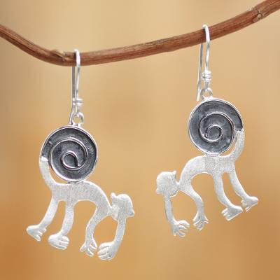 Sterling silver dangle earrings, 'Nazca Monkey Tricks' - Sterling silver dangle earrings