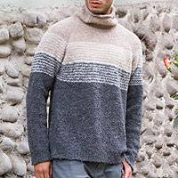 Men's alpaca blend sweater, 'Signs of the Earth'