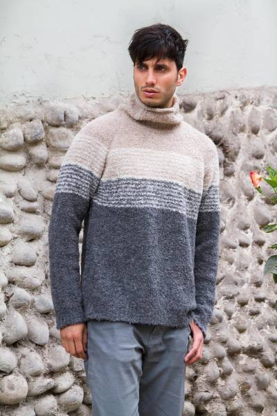 Men's alpaca blend sweater, 'Signs of the Earth' - Men's Baby Alpaca Grey and White Turtleneck