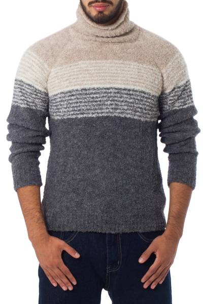 Men's Baby Alpaca Grey and White Turtleneck, 'Signs of the Earth''