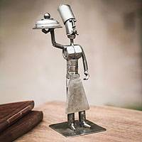 Recycled metal sculpture, 'Master Chef' - Recycled Metal Statuette Original Eco Art from Peru
