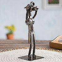 Recycled metal sculpture, 'The Tourist' - Upcycled Metal Photographer Sculpture