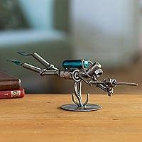 Recycled metal sculpture, 'Rustic Scuba Diver' - Recycled metal sculpture