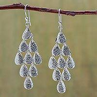 Sterling silver chandelier earrings, 'Rain' - Modern Sterling Silver Chandelier Earrings