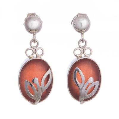 Rhodochrosite dangle earrings, 'Incipient Blossom' - Rhodochrosite dangle earrings