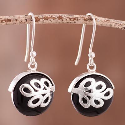 Obsidian dangle earrings, 'Midnight Fern' - Obsidian dangle earrings