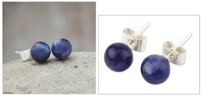 Sodalite stud earrings, 'Blue Enigma' - Sodalite stud earrings