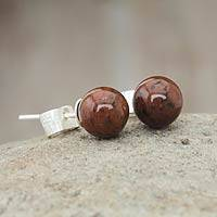 Mahogany obsidian stud earrings, 'Enigma' - Mahogany obsidian stud earrings
