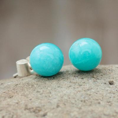 Amazonite stud earrings, 'Azure Enigma' - Amazonite stud earrings