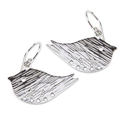 Sterling silver dangle earrings, 'Andean Sparrows' - Sterling silver dangle earrings