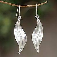 Sterling silver dangle earrings, 'Quiet Sigh' - Sterling silver dangle earrings