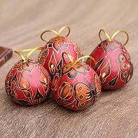 Mate gourd ornaments, 'Butterflies' (set of 4)
