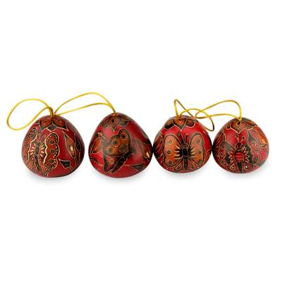 Mate gourd ornaments, 'Butterflies' (set of 4) - Mate Gourd Holiday Ornaments (Set of 4)